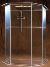 Woerner 3351 Acrylic Pulpit W Etched Cross For Churches
