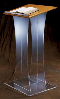 3304W Acrylic Lectern with Wood Top