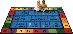 Ten Commandments Faith Based Play Rug