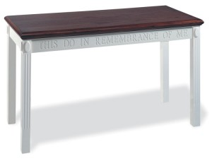 Wooden Open Communion Table in White w/ Stain